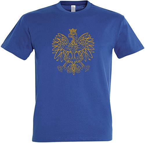 Herren T-Shirt Polen Adler Gold-Metallic Edition S bis 5XL (M, Royalblau)