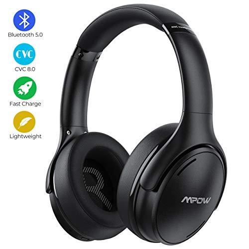 Mpow Cuffie Cancellazione Rumore Attiva,Cuffie Bluetooth 5.0,Cuffie Wireless Ricarica Rapida, Autonomia 30 Ore,Pieghevole Cuffie Over Ear Suono Hi-Fi CVC 8.0,Cuffie Noise Cancelling Per Cellullari/PC