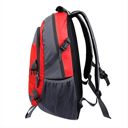 Bediffer Mochila solar antirrobo, mochila de camping para caminar, mochila solar duradera, mochila deportiva de viaje, con panel de carga solar (rojo)