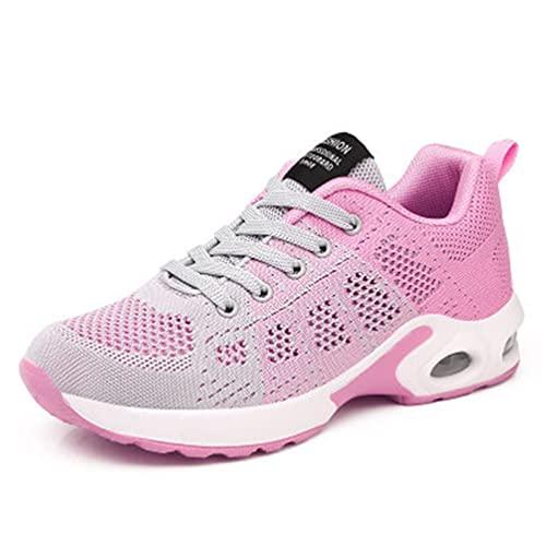 Verano Tejido Transpirable para Mujer Zapatos Deportivos al Aire Libre Casual Comfort Air Cushion Zapatillas de Deporte con Cordones de Fondo Suave y Ligero