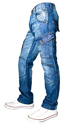 Peviani 888 Straight Fit Star G Combat Boys Mens Jeans, Urban Hiphop Denim Time is Money Blue Stonewash 40W x 33L