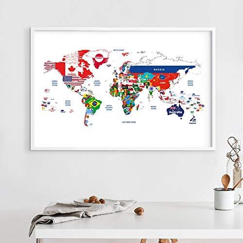 adgkitb canvas Weltkarte Flagge Bilder Leinwand Wandkunst Gedruckt Poster Für Wohnzimmer Dekoration 30x45 cm KEIN Rahmen