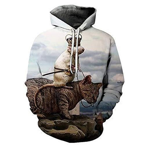 Zaima Sudaderas con Capucha De Animales ImpresióN 3D Gato Sudadera Informal Pullover Abrigo De Manga Larga Hombres