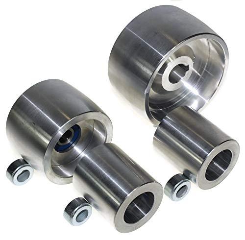 (AL4-19) CNC gefrästes Riemenschleifer Set für Messerschleifer 100 mm Antriebs-19 mm Schaft 75 mm Spurrad 50 mm Idler