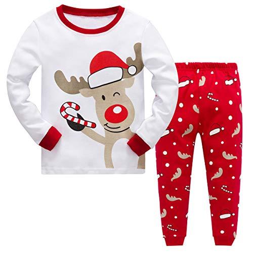 MIXIDON Pijamas de Navidad para Niños Pequeños y Niñas,Reno de Navidad...