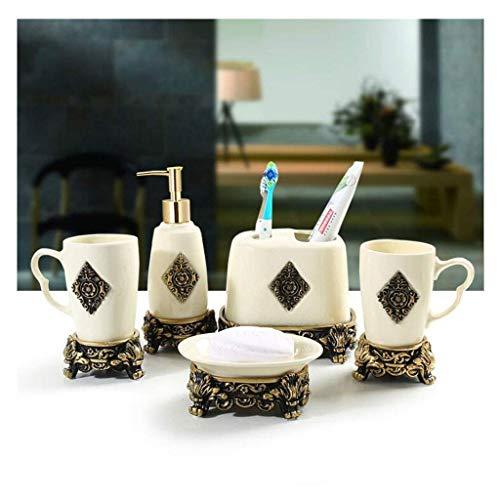 DZX Juego de Accesorios de baño de cerámica Juego de Regalo para baño Soporte para Cepillo de Dientes, Vaso, Jabonera, Dispensador de jabón, 5 Piezas Blanco (Tamaño: 5pc)