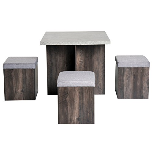 HOMCOM 5PC Dining Set Wooden Set 4 Storage Stools Ottoman w/Cushions + 1 Table Space Saving Design Indoor Kitchen Grey&Wood Grain