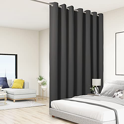 BONZER Room Divider Curtain Total Privacy Wall Grommet Thermal Insulated Soundproof Extra Wide Blackout Curtains for Bedroom Living Room, 9ft Wide x 7ft Tall, 1 Panel, Dark Grey