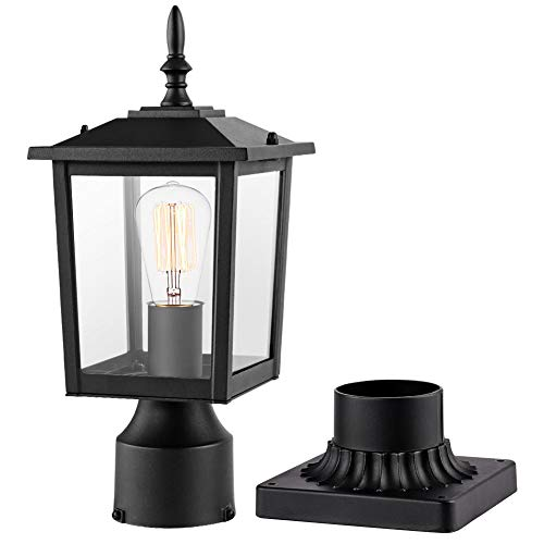 CINOTON Outdoor Post Light Fixtures, Modern 1- Light Exterior Post Lantern with 3-Inch Pier Mount Base Aluminum Housing Plus Clear Glass Waterproof Patio Pole Lights, Bulbs not Included