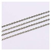 ジュエリー5m /ロット幅1.5 2mmゴールド銅オーバルリンクネックレスチェーンジュエリー作り調査結果アクセサリーブレスレットDIY用品 (色 : Antique Bronze, サイズ : 2.0mm x 5m)