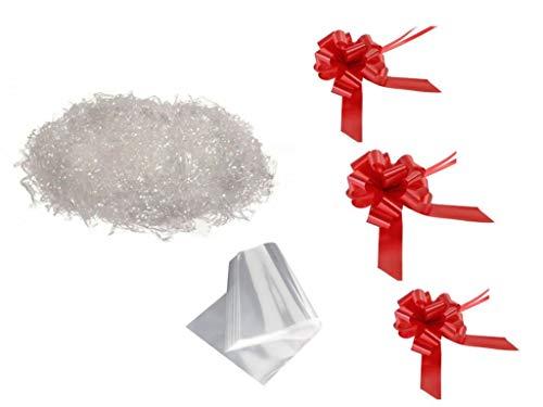 3 FOGLI CELLOPHANE 100x130cm 25my +3 COCCARDE ROSSE + 750 Gr TRUCIOLO POLIPROPILENE TRASPARENTE Paglia sintetica per ceste natalizie e confezioni regalo
