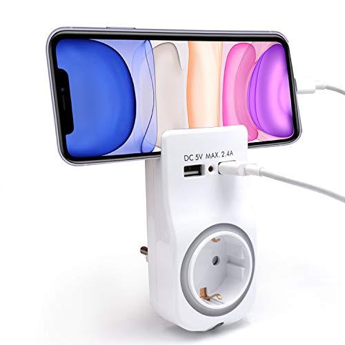 Welly EnjoyIT WY13031 - Adaptador de Pared 1 Enchufe Schuko 16A con luz Nocturna, Soporte para teléfono Inteligente/Tableta, 2 Puertos USB e indicador LED, color blanco
