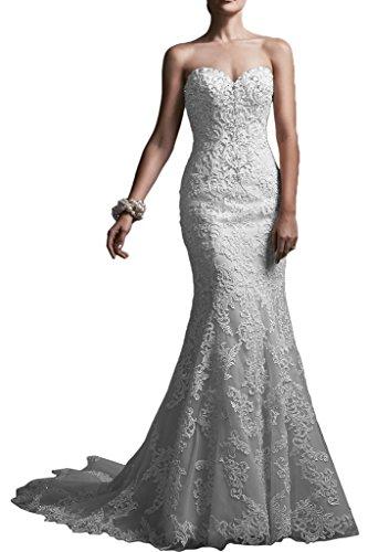 Romantische Braut Elegant Meerjungfrau-Linie Herz-Ausschnitt Satin Hochzeitskleid Brautkleid mit Applikation -54 Elfenbein