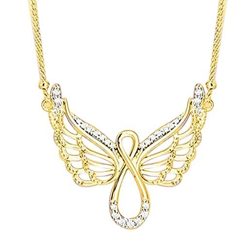 surfsexy Collar de diamantes de ángel de las mujeres collar de la muchacha Material de aleación galvanoplastia Proceso de la amistad Regalos para cumpleaños boda turismo conmemorativo