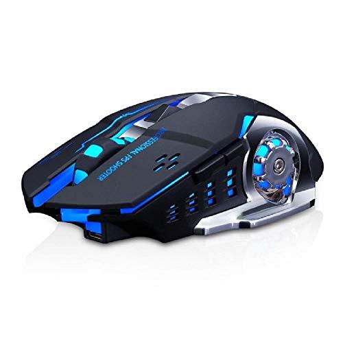 Lasuki Ratón Gaming Inalámbrico Ratón Recargable con 6 Botones y 3Niveles de dpi Ajustables 7 Colores RGB LED y retroiluminación Parpadeante para Ordenador Notebook Desktop Laptop