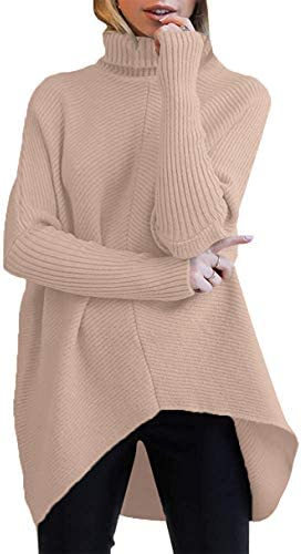 ANRABESS Womens Casual Fall Sweater Turtleneck High Neck Batwing Sleeve Oversized Sweater Dress product image