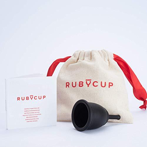 Ruby Cup - Wiederverwendbare Menstruationstasse (leichte Tage, niedriger Gebärmutterhals, Größe S) - SCHWARZ– inkl Spende. Ideal für Anfänger. Praktische & zuverlässige Alternative zu Tampons & Binden