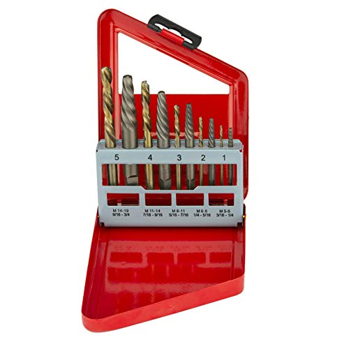 NEIKO 01925A Screw Extractor and Left Hand Drill Bit Set, 10 Piece, Cobalt HSS Drill Bits, Alloy Extractors, clear color