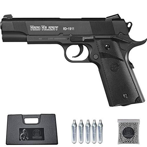 Ecommur. RD1911 Red Alert gamo | Pistola de perdigones (Bolas BB's de Acero) de Aire comprimido semiautomática Tipo Colt 1911 Cal. 4,5mm + maletín + balines y CO2