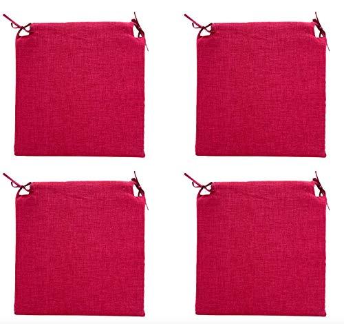 TIENDA EURASIA® Pack 4 Cojines para Sillas - Estampados Lisos con 2 Cintas de Sujeción - Ideal para Interiores y Exteriores - 40 x 40 x 3 cm (Rojo) 🔥