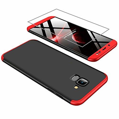 AILZH Hülle für Samsung J6 2018 Hülle 360 Grad Schutzhülle PC Hartschale Anti-Schock HandyHülle Stoßfänger 360° Cover Case Matte Schutzkasten+Gehärteter Glasfilm(Rot und schwarz)