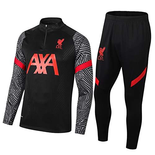 2021 Livěrpóòl Chandal Hombre Completo De Fútbol - Uniforme Entrenamiento De Fútbol para La Camisa De Los Hombres De Manga Larga Black-XL