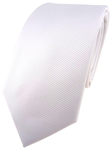 TigerTie Designer Krawatte in weiß reinweiß schneeweiß einfarbig Uni Rips