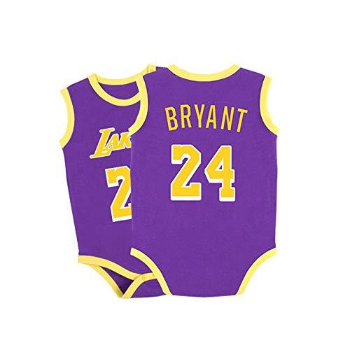 GHQYP Mameluco Bebe con NO.24 Kobe Bryant,Body Bebe Recien Nacido,Ropa Bebe Niño Cuatro Estaciones,Traje Niño para Bebés de 3 a 15 Meses,Purple1,80CM(9-12Months)