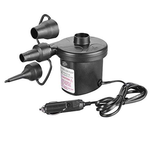 perfk Inflador de Bomba de Aire Eléctrico de CC Automático para Coche de 12 V + 3 Boquillas para Colchón de Colchón de Aire para Barco