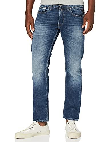 REPLAY Grover Jeans Straight, Blu (Dark Blue 7), W28/L34 (Taglia Produttore: 28) Uomo