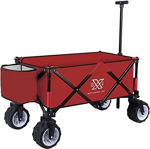 BXL Heavy Duty Collapsible Folding Garden Cart Utility Wagon for Shopping...
