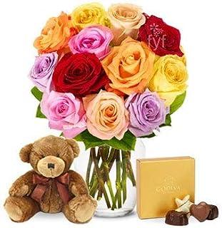 Flowers - One Dozen Rainbow Roses with Godiva & Bear (Free Vase Included)