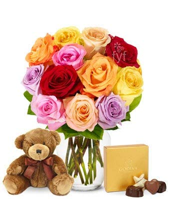 Flowers - One Dozen Rainbow Roses with Godiva & Bear (Free Vase...