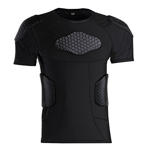 Men's Padded shirts Short Sleeve Compression Protective T Shirt Rib Chest Shoulder Back Protective Gear for Football Baseball Hockey Soccer Basketball Bike Cycling Rugby Paintball Snowboard Ski Size L