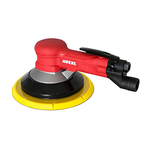 "AIRCAT 6700-8GCV 8"" Central Vacuum Geared Sander, Small, Red/Black"