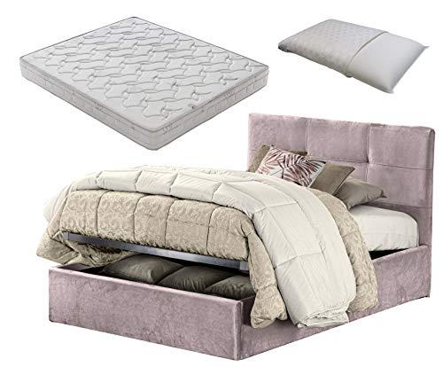 Cama de 1 plaza y media con caja contenedor rosa terciopelo + colchón de plaza y media 120 x 190 cm de espuma viscoelástica + almohada de espuma viscoelástica con jabón desenfundable