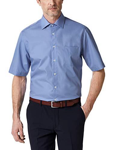 Walbusch Herren Hemd Bügelfrei Kent Kragen einfarbig Azur 47/48 - Kurzarm