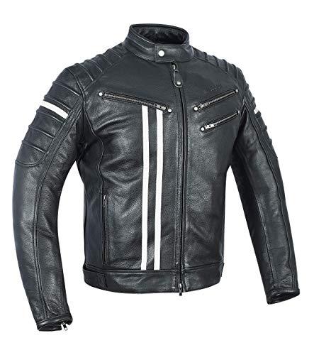 MAGOMA Bronx Lederjacke mit Protektoren für Motorrad, Schwarz L schwarz