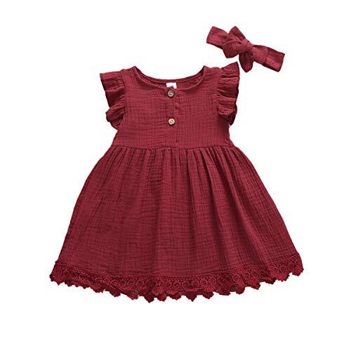 Vestido Verano Niña Bebé Vestido de Princesa Mangas de Mosca Dobladillo de Encajes Diadema de Lazo Vestido de Bautizo Conjunto de Dos Piezas para Niñas (Rojo, 3-4 Años)