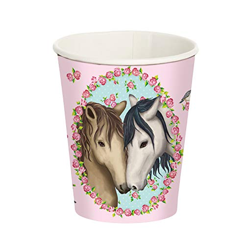 Neu 2019: 8 Party-Becher * Tapirella Pferde * für Kindergeburtstag und Motto-Party | 11367 | Pferde Pony Reiten Kinder Geburtstag Pappteller Motto Mädchen