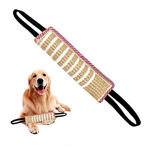 AEITPET mordedor Perro, con Dos Asas, Embutido de Manguera, Dummy y motivador canino Resistente y Duradero, Juguetes para Perros, de Entrenamiento Yute ✅