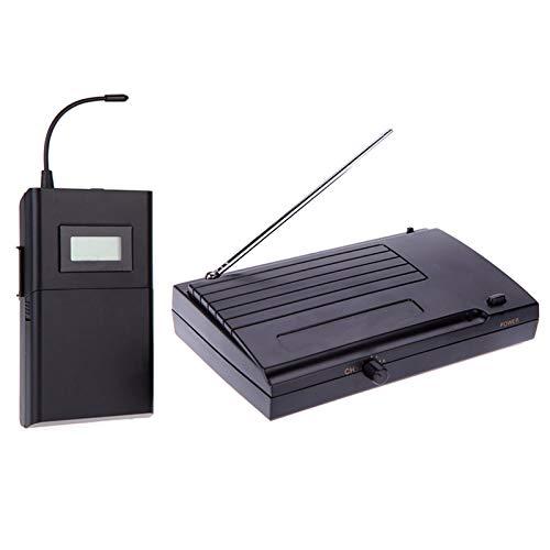 ammoon Sistema Monitor Inalámbrico Distancia de Transmisión 50m En la Oreja los Auriculares del Receptor Estéreo Receptor Transmisor LCD de 6 Canales Seleccionables