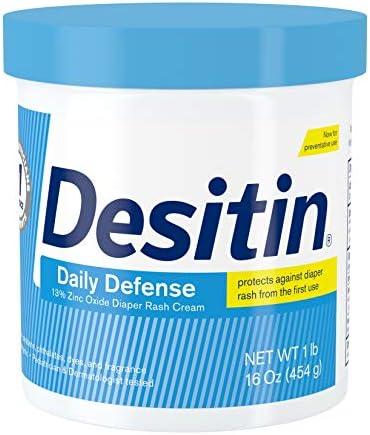 Desitin Daily Defense Baby Diaper Rash Cream with 13% Zinc Oxide, Barrier Cream to Treat, Relieve & Prevent Diaper Rash, Hypoallergenic, Dye-, Phthalate- & Paraben-Free, 16 oz