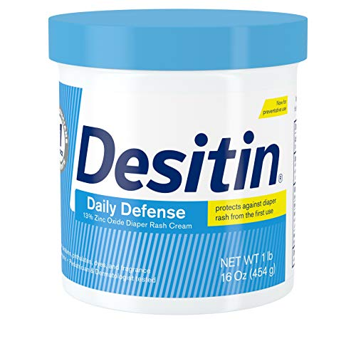 Desitin Daily Defense Baby Diaper Rash Cream with 13% Zinc Oxide, Barrier Cream to Treat, Relieve & Prevent Diaper Rash, Hypoallergenic, Dye-, Phthalate- & Paraben-Free, 16 oz
