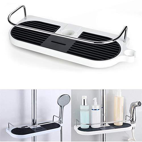 Jabonera de ducha. Estante portaobjetos para colgar en la barra telescópica de la ducha. Organizador de acero inoxidable y aluminio para el baño