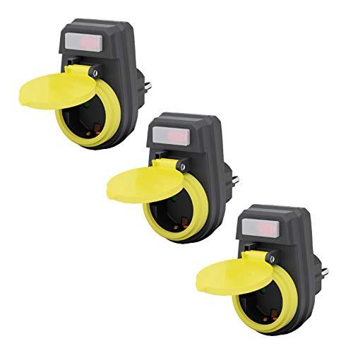 3x Outdoor Steckdose | IP44 | beleuchteter Schalter | wasserfeste Außensteckdose | Außenbereich Garten Stromverteiler | Kindersicherung Berührungsschutz Schutzkontakt | wetterfest | 3 Stück