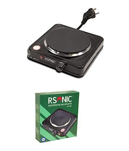 RSonic Elektrische Doppelkochplatte oder Einzelkochplatte | Herdplatte | Kochplatte | Kochfeld | Camping | Überhitzungsschutz | Schwarz | TÜV | (Einzel-1000W)