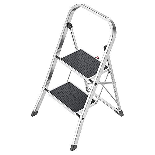 Hailo K60 StandardLine Alu-Klapptritt-Leiter | 2 große Stahl-Stufen mit Anti-Rutsch-Matten belastbar bis 150 kg | Trittleiter mit Klappsicherung | besonders leicht und einfach zu verstauen | silber
