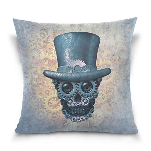 HMZXZ Funda de almohada decorativa de 50,8 x 50,8 cm, diseño de calavera steampunk