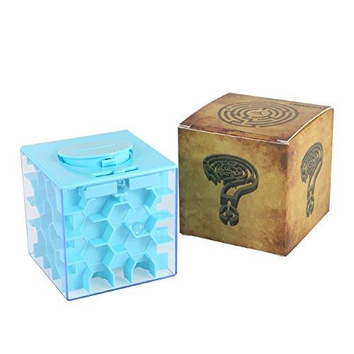 ThinkMax Money Maze, Put Cash Inside Puzzle Storage Box, Gran Regalo para niños y niños (Azul-Panal)